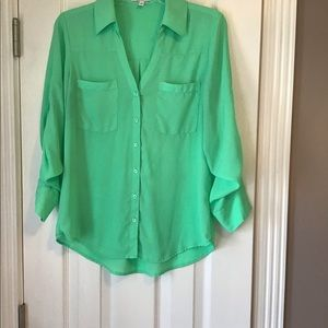 Express, Lime long sleeve dress blouse. Size S/P.